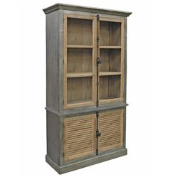 Klein Industrial Loft Natural Pine Zinc Wrapped Closed Bookcase Cabinet | Kathy Kuo Home