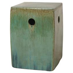 Koji Bazaar Green Glazed Square Ceramic Garden Stool | Kathy Kuo Home