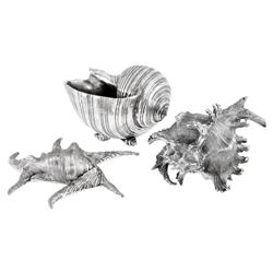 Krios Coastal Beach Antique Silver Sculptures - Set of 3 | Kathy Kuo Home