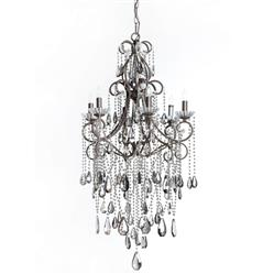 Kristiana French Country Crystal Smoke 6 Light Chandelier | Kathy Kuo Home