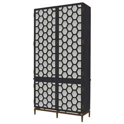 Kurt Modern Classic Hexagon Grey Antique Mirror Tall Cabinet | Kathy Kuo Home
