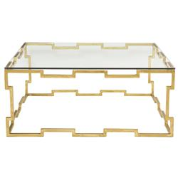 Kya Hollywood Regency Gold Leaf Glass Coffee Table | Kathy Kuo Home