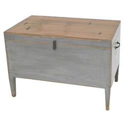 Kyrah Rustic French Grey Reclaimed Pine Wood Trunk Side Table | Kathy Kuo Home