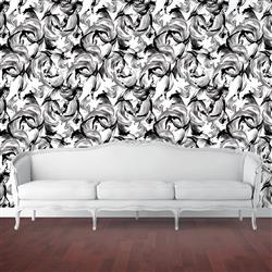 L'Amour Modern Classic White Black Removable Wallpaper | Kathy Kuo Home