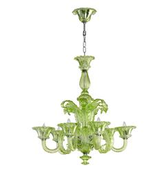 La Scala 30 Inch Pale Green Murano Glass Style 6 Light Chandelier | Kathy Kuo Home
