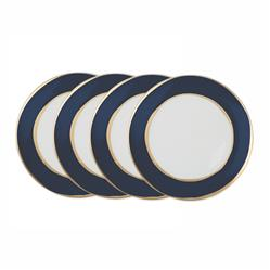 La Vienne Gold Navy Blue Salad Plates - Set of 4 | Kathy Kuo Home