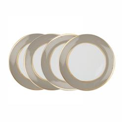La Vienne Gold Taupe Salad Plates - Set of 4 | Kathy Kuo Home