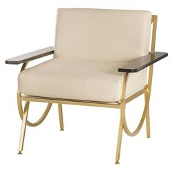 Labelle Regency Curved Gold Ivory Leather Armchair | Kathy Kuo Home