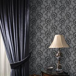 Lace Textured Modern Classic Smoky Black Removable Wallpaper | Kathy Kuo Home