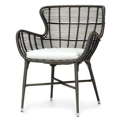 Lacey Modern Classic Espresso Outdoor Chair - Salt | Kathy Kuo Home