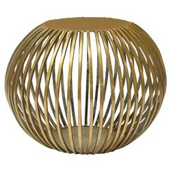 Ladonna Regency Round Orb Gold Metal End Table | Kathy Kuo Home
