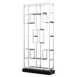 Lagonda Modern Classic Smoked Glass Stainless Steel Geometric Display Bookcase | Kathy Kuo Home