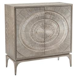 Laila Regency Silver Burst Two Door Cabinet | Kathy Kuo Home