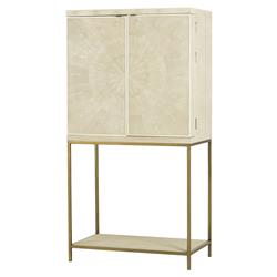 Lamar Regency Cream Shagreen Brass Bar Cabinet | Kathy Kuo Home