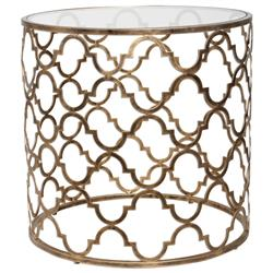 Lamarr Global Bazaar Gold Quatrefoil Iron End Table | Kathy Kuo Home