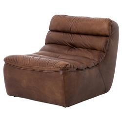 Lammerley Rustic Lodge Brown Leather Channel Back Chaise Lounge Chair | Kathy Kuo Home