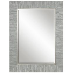 Landen Modern Classic Textured Silver Stripe Beveled Mirror | Kathy Kuo Home