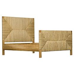 Lanelle Coastal Beach Woven Rush Teak Bed - Queen | Kathy Kuo Home