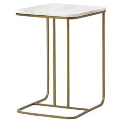Lanet Regency Tuck Matte Brass White Marble End Table | Kathy Kuo Home