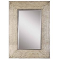 Langston Coastal Beach Distressed Wash Grey Wood Wall Mirror | Kathy Kuo Home