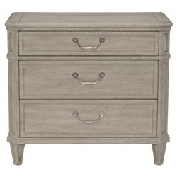 Lanz French Country Grey Oak Antique Silver Nightstand | Kathy Kuo Home