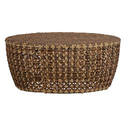 Largo Woven Rattan Drum Outdoor Coffee Table | Kathy Kuo Home