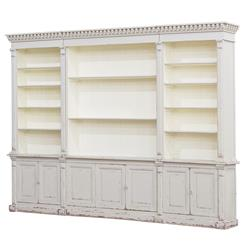 Laundress French Country Distressed Grey Large Display Bookcase | Kathy Kuo Home