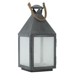 Lauren Rustic Lodge Dark Grey Metal Candle Lantern - 26H | Kathy Kuo Home