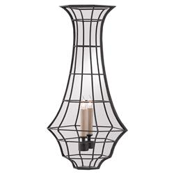 Laurence Industrial French Wrought Iron Cage Candlestick Wall Sconce | Kathy Kuo Home