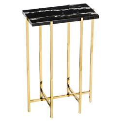 Interlude Laurent Hollywood Regency Charcoal Marble Rectangle Gold Drink Table | Kathy Kuo Home