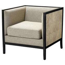 Lauriston Modern Classic Faux Shagreen Black Finished Club Chair | Kathy Kuo Home