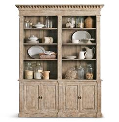 Le Baux French Country Weathered Beige Oak Wood Double Cabinet Bookcase