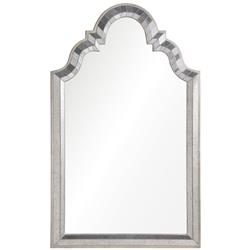 Leigh Hollywood Regency Antiqued Silver Leaf Frame Arch Mirror | Kathy Kuo Home