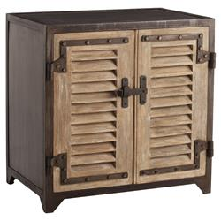Leon Rustic Lodge Wood Shutter Iron Nightstand | Kathy Kuo Home