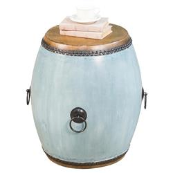 Letty Global Bazaar Brown Leather Top Round Blue Drum Side End Table | Kathy Kuo Home
