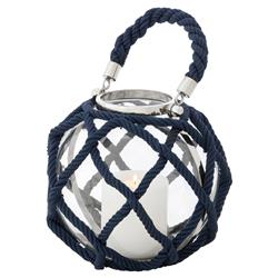 Levi Coastal Beach Navy Blue Nautical Rope Round Lantern - 16H | Kathy Kuo Home
