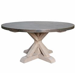 Lewiston Industrial Loft Zinc Top X Base Round Dining Table | Kathy Kuo Home