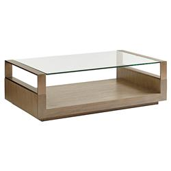 Lexington Center Stage Modern Classic Clear Glass Top Wood Coffee Table | Kathy Kuo Home
