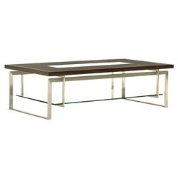 Lexington Granville Modern Center Glass Quartered Walnut Top Wood Coffee Table | Kathy Kuo Home