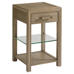 Lexington Legacy Modern 1-Drawer Glass Shelf Taupe Wood Square Nightstand | Kathy Kuo Home
