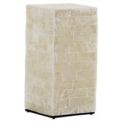 Lexington Marisol Modern Block Veracruz White Stone Tall Cube Side End Table | Kathy Kuo Home