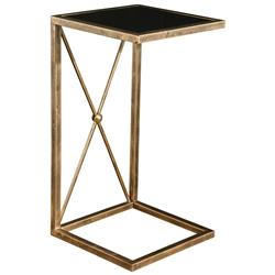 Lexington Modern Classic Antique Gold Black Glass Side Table | Kathy Kuo Home