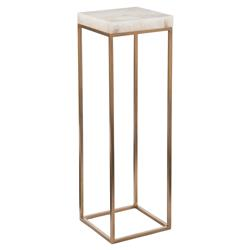 Liara Regency Antique Brass Calcite Pedestal Table - 36H | Kathy Kuo Home