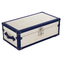 Liberty Coastal Loft Navy Ivory Steamer Trunk - S | Kathy Kuo Home
