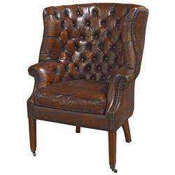 Liesl Rustic Lodge Tufted Vintage Brown Leather Castors Armchair | Kathy Kuo Home