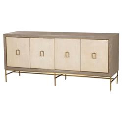 Lila Hollywood Regency Cream Shagreen 3 Cabinet Sideboard | Kathy Kuo Home
