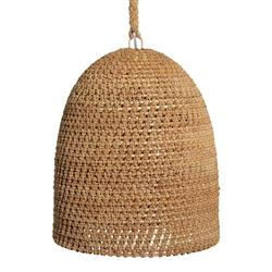 Lileas Coastal Beach Rope Rattan Woven Pendant | Kathy Kuo Home