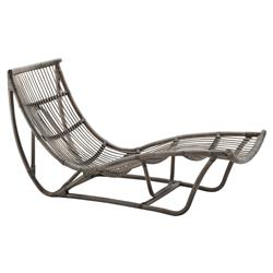 Liliana Coastal Beach Grey Rattan Chaise Lounge | Kathy Kuo Home