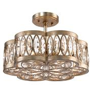 Lilliana Hollywood Antique Silver Crystal Mosaic 6 Light Semi-Flush Ceiling Mount