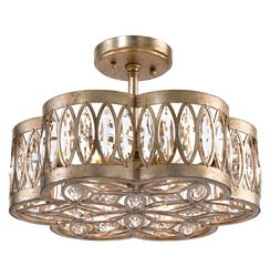 Lilliana Hollywood Antique Silver Crystal Mosaic Semi-Flush Ceiling Mount | Kathy Kuo Home